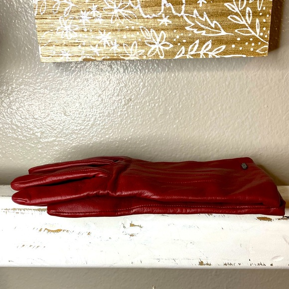 Coach Red Sheep Leather Gloves
